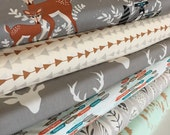 Hello Bear, Deer fabric, Fox fabric, Forest fabric, Art Gallery Fabrics, Fabric Bundle of 6- Choose the Cut, Free Shipping Available