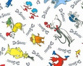 Dr Seuss fabric, Busy Book Fabric, Gift for Book lover, School fabric, Lorax, Green Eggs Ham, Classroom Decor, Seuss Characters in White