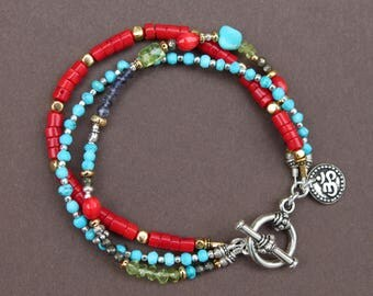 Turquoise Coral Peridot Gem Silver Gold Mixed Metal Triple Strand Bracelet Handcrafted Sundance Style