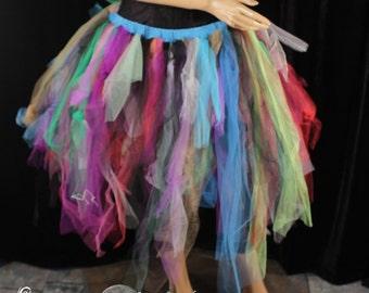 Ready to ship Tutu tulle skirt adult Medium trashyupcycle scrap boho gypsy tribal dance rave halloween rainbow multi color streamer - SOTMD