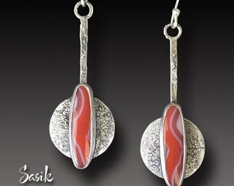 Agate Earrings LONG Sterling Silver Earrings INCA  Agate Dangle earrings