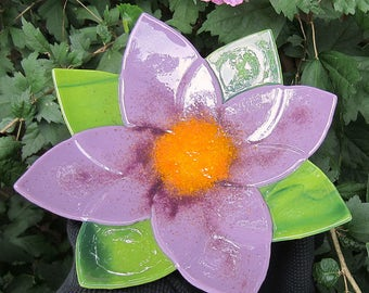 Lilac purple flower fused glass decorative bowl dish with green leaves