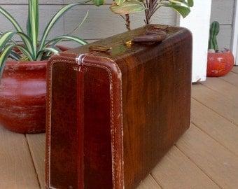 "FREE SHIPPING-Vintage Large 21"" Brown Faux Alligator/Crocodile Samsonite Suitcase-Masculine-Mid Century-Carry On Luggage-Organization-Boho"