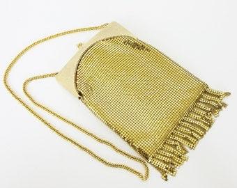 Whiting and Davis 1970's Vintage Gold Mesh Glam Flapper Fringe Evening Bag
