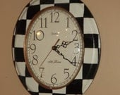 Wall Clock  Whimsical Checks  Hand Painted  Mackenzie Childs Inspired  French Country  Home Decor  Wall Decor  Seth Thomas