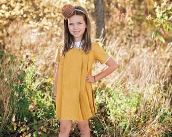 SALE!!Retro 1960's Style Mustard Yellow Pleated Dress children, child toddler girls