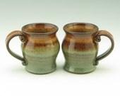 My Little Tea Mug Singles, Pot Belly 8 oz Stoneware Mug, Handmade Pottery Honey & Sage Beverage Cup, Ceramic Tea Cup