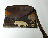 RESERVED for s.e.r -w Large Buffalo Wool Zippered Pouch Accessory Organizer Cosmetic Bag Fringed Leather Zipper Pull Native American Print