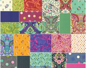 """SQ94 Tula Pink SLOW & STEADY Precut 5"""" Charm Pack Fabric Quilting Cotton Squares Free Spirit"""
