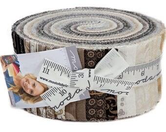 "SALE 20% Off Moda MAVEN Jelly Roll 2.5"" Precut Fabric Quilting Cotton Strips Basic Grey 30460JR"
