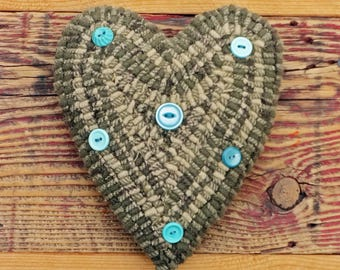 Primitive Rug Hooking - Hand Hooked Heart Pillow with Vintage Buttons - Folk Art Home Decor and Accents