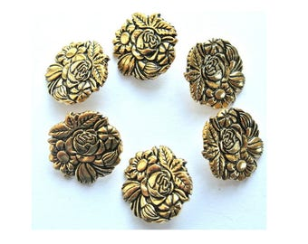 6 Vintage metal buttons rose flower, flower shape,  shank buttons, unique for button jewelry