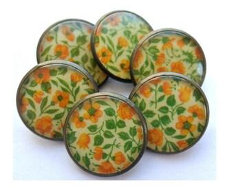 6 Vintage metal buttons orange flower picture shank buttons,transprent plastic cover UNIQUE high quality