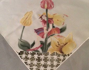 """Darling Fairy Applique Tablecloth Tulips Cutwork 32"""" X 34"""" Creamy White with Pastel Accents Outstanding Condition TB24"""