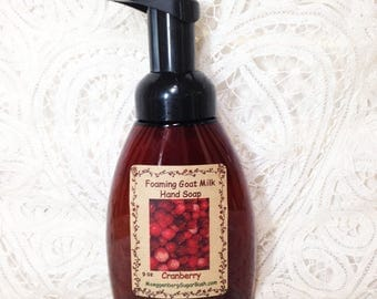 Foaming Hand Soap, Goat milk, Cranberry, liquid goat milk soap, foaming soap, Moeggenborg Sugar Bush