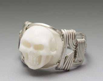 Carved Bone (bovine) Skull Cameo Sterling Silver Wire Wrapped Ring - Made to Order and Ships Fast!