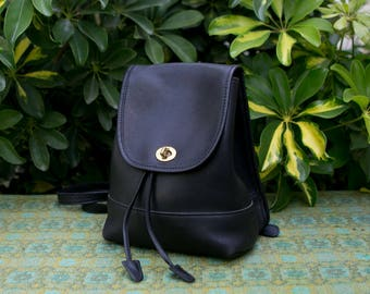 Vintage Black Coach Leather Backpack Rucksack Daypack With Brass Hardware Bag Purse Turn Lock Classic 9960 0427162