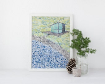 Lake House Art Print / Watercolor Art Print / Cabin Art / Art Print / Lake House / Summer Cabin Art / Lake House Gifts / Lake Art Print