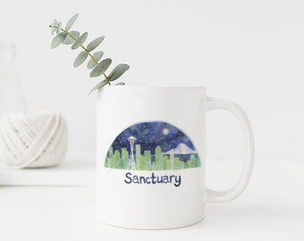 Seattle Mug / Ceramic Mug / Seattle Skyline / Sanctuary City / Seattle Gifts / Sanctuary City Mug / Seattle Art Mug / Sanctuary Gifts / Mugs