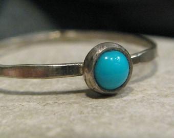 Turquoise, 14k white gold stacking ring