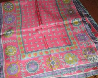 Vintage MOD 60s Pink and Grey Flower Motif Silk Scarf Signed PAS Japan Winkelmans