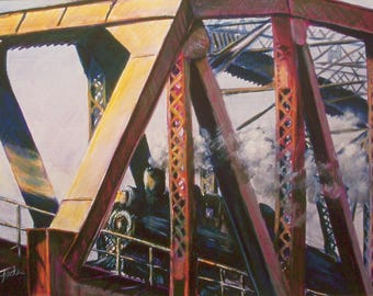 Railroad Painting - Limited Edition Print - Steam Train - Historical Painting - Gift for Him - Railroad Trestle - Train Art