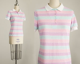 80s Vintage Catalina Pastel Pink Rainbow Striped Cotton Polo T-Shirt / Size Small