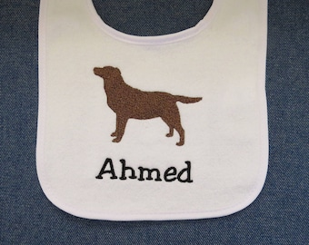 Brown Dog White Baby Bib Personalized with Name- Custom Orders Welcome....