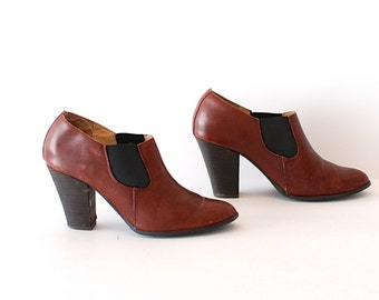 size 6.5 leather BOOTIES 80s 90s MINIMAL pull on ankle boots