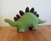 Stegosaurus Stuffed Animal, Handmade Plush Dinosaur, Green Wool