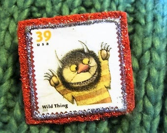 Where the Wild Things Are Stamp Brooch