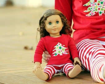 Matching Girl and Doll Clothes fits American Girl Doll - Christmas Tree Shirts in Red, Sizes 4/5, 6/6X, 7/8, 10/12, 14/16