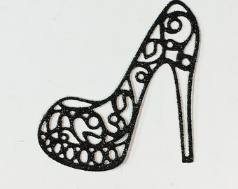 Swirl High Heel Platform Pump Shoe Black Glitter Die Cut - Elegant Feminine Embellishment - Scrapbook Greeting Card Art Craft Mixed Media
