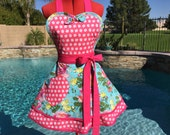 Sketchbook Roses Sassy Apron with Petticoat, Womens Misses and Plus SIzes, Little Girls Sizes, Pin Up Lolita Apron, Amy Butler Alchemy