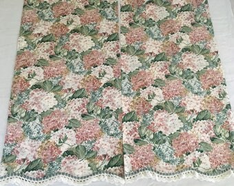 2  Vintage Pillowcases King Size Floral withPeach and Blue Flowers Crocheted White trim Scalloped edging Shabby Chic