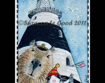 GUINEA PIG CAPYBARA aceo art card trading card lighthouse Limited Edition cavy Little and Large print from original painting Suzanne Le Good