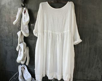 Sheer Linen Oversized Baby Doll Dress