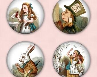 Alice In Wonderland - Drink Coasters, Set of 4 Coasters, Round Coasters - C015