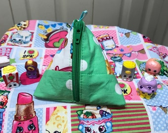 Shopkins Triangle Zipper Coin Pouch Patchwork Mint Green
