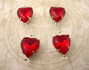 4 vintage glass siam ruby red  heart silver  Prong Settings 2 Ring  connectors close Backs charms 10mm