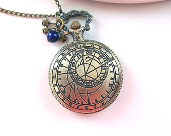 Time Lord zodiac locket  Watch  necklace blue astronomy astrology