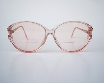 80s eyeglasses / Crystal Pink by Marchon/ large round eyeglasses / clear plastic, womens eyeglasses sunglasses