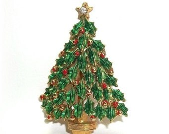 Christmas Tree Xmas JJ pin Jonette brooch Gold tone Red Green