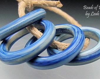 Handmade Glass Bead Rings Lampwork - 4 Earthy Striated Denim Blue Sliders - Lg