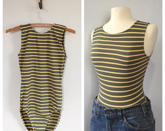 Vinatge stripe leotard step in bodysuit 1970s dance wear