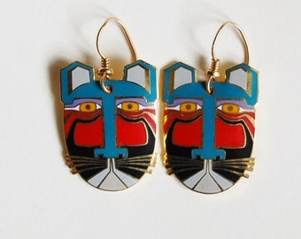 Vintage 1980s Laurel Burch Miikio Cat Earrings Enamel Dangles Gold Tone