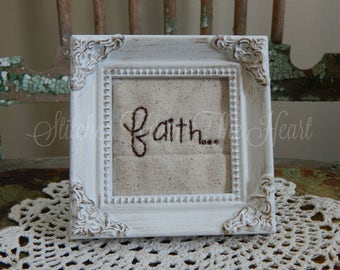 Christian Decor - Faith - Faith Stitchery - Christian Gift - Christian Framed Art - Religious
