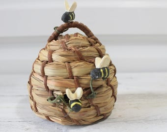 Small Vintage Straw Bee Hive, straw Bee Skep, summertime, local bee keeper