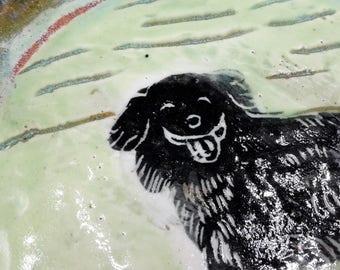 black australian shepherd dish - handmade ceramic