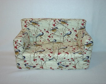 Doll Sofa 18 Inch ,Birds -  Black, Brown, Wine,  Modern Handmade Doll Furniture